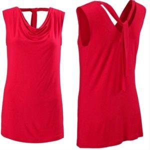 Cabi Drape Neck Red Blouse Medium #3051